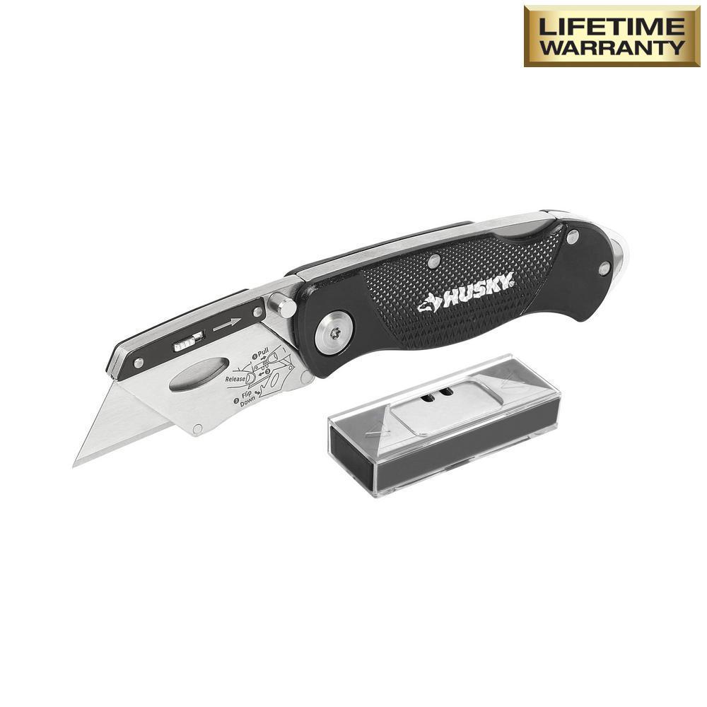 Husky Folding Lock Back Utility Knife
