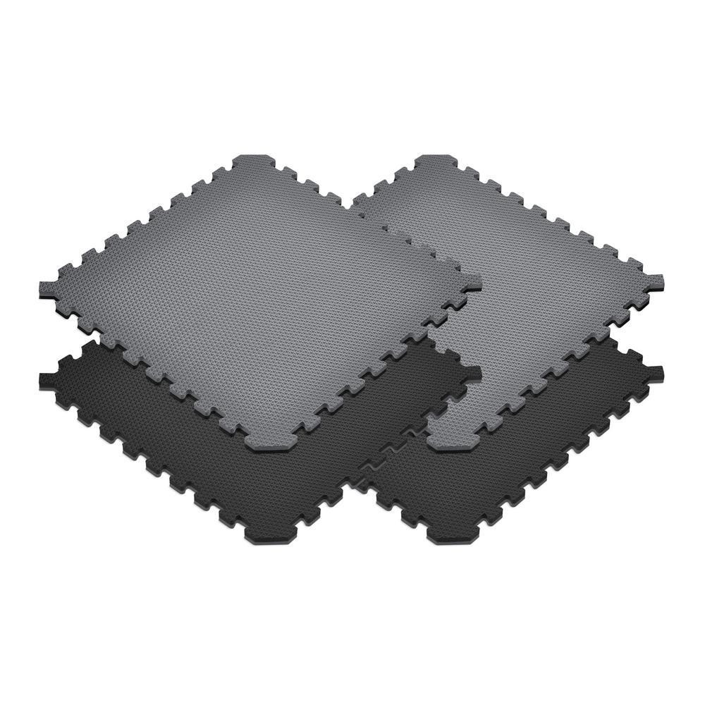 Black/Gray 24 in. x 24 in. x 0.79 in. Foam Interlocking Reversible Floor Mat (4-Pack)