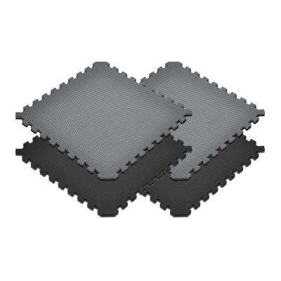 Gray/Black 24 in. x 24 in. EVA Foam Truly Reversible Sport MMA Interlocking Tile (32-Tile)