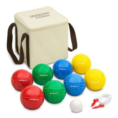 90 mm Backyard Bocce Set with 8-Balls, Pallino, Case and Measuring Rope - Made from Premium Resin
