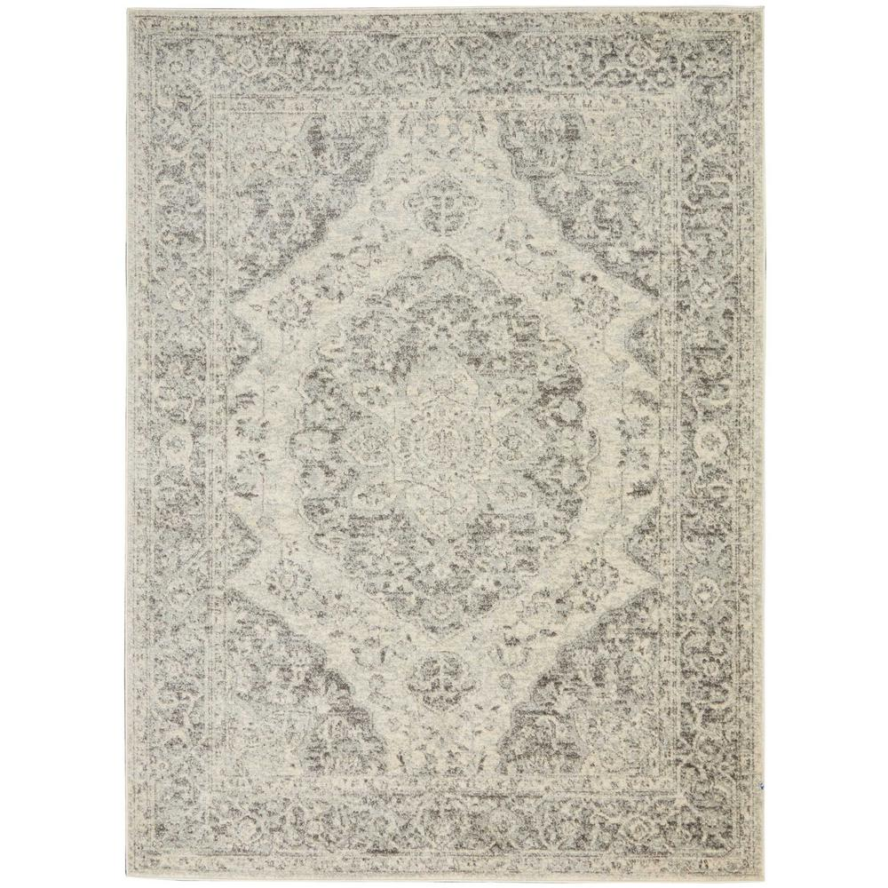 363e52ed Nourison Tranquil TRA05 Grey and White 4 ft. x 6 ft. Vintage Area Rug