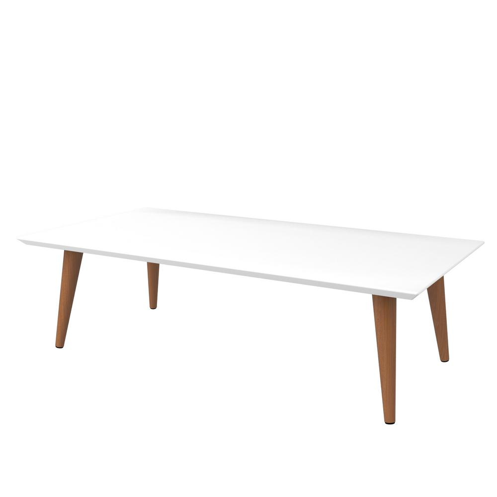H White Glosaple Cream Rectangle Coffee Table With Splayed Legs