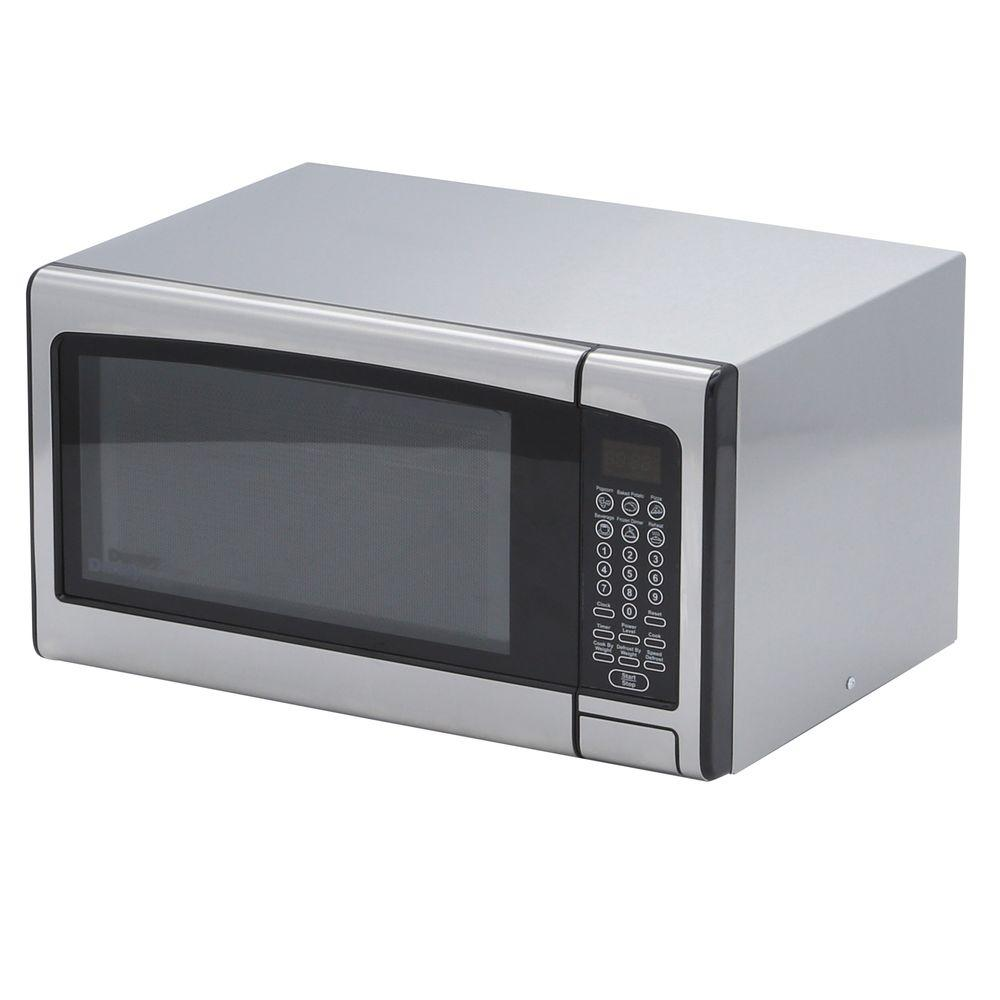 Danby 1.1 cu. ft. Countertop Microwave in Stainless Steel (Silver) Danby's 1.1 cu. ft. Countertop Microwave is not only practical and economical, but stylish, too. A sleek, stainless steel exterior enhances any decor, while the 1.1 cu. ft. of cooking capacity makes it well suited for a dorm room, office or kitchen. Six 1-touch cooking options make it easy to cook a variety of food types with the push of a button, saving time and eliminating guesswork, while additional specialty programs let you cook and defrost by weight for increased accuracy.