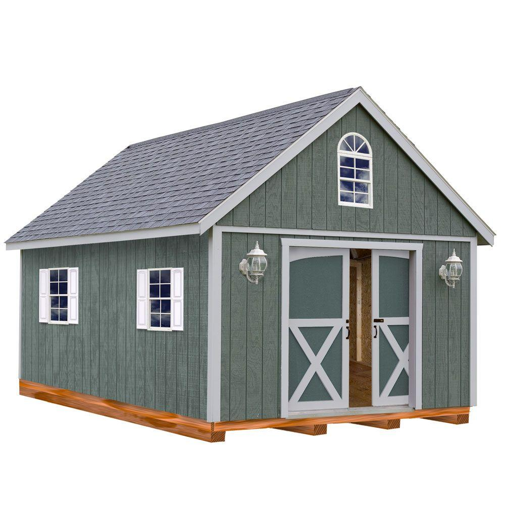 Wood storage shed kit with floor
