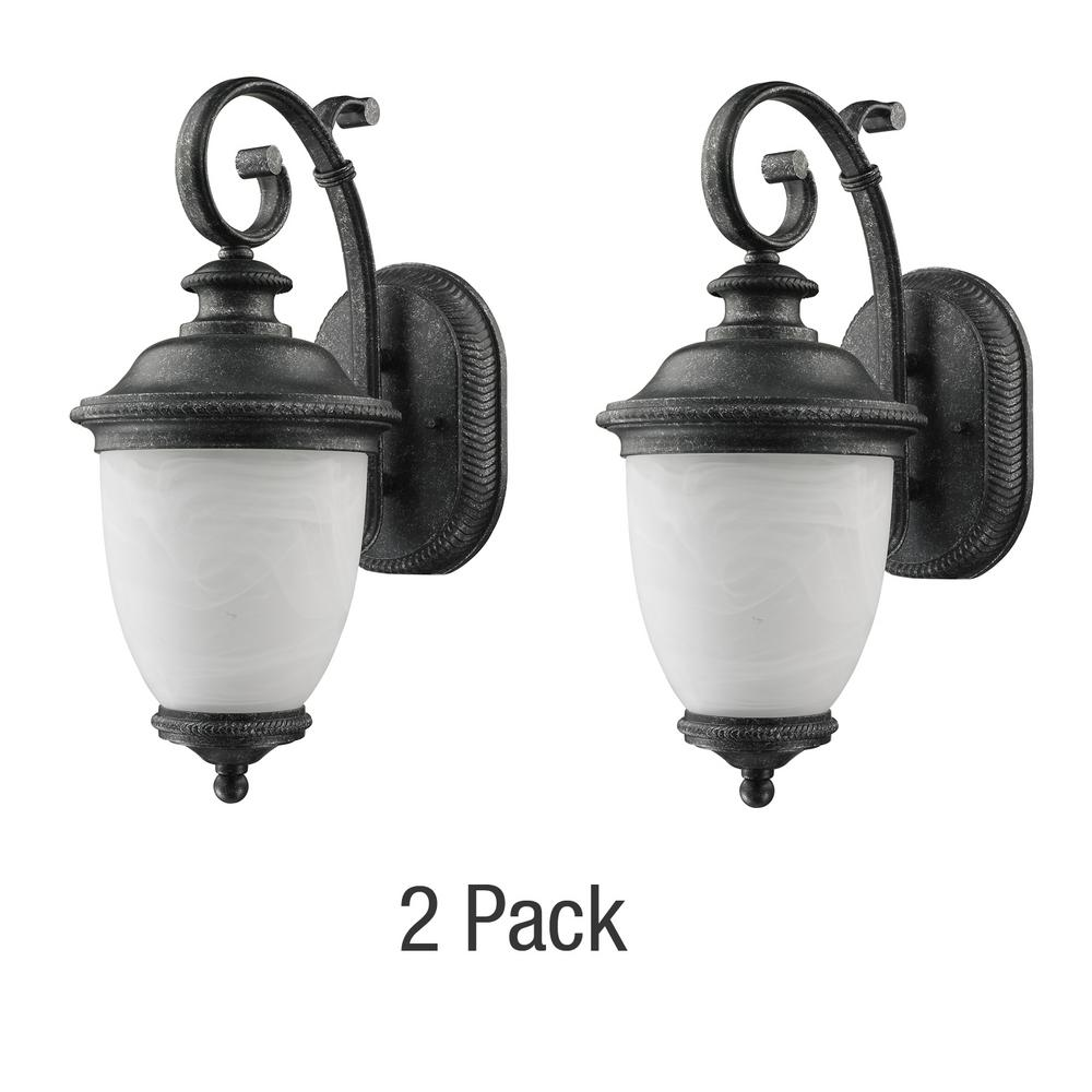 Laurel Designs Belmont Collection 1 Light Slate Outdoor Wall Lantern 2 Pack