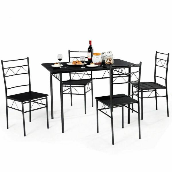 5-Piece Black Dining Table Set 4-Chairs Wood Metal Kitchen Breakfast Furniture