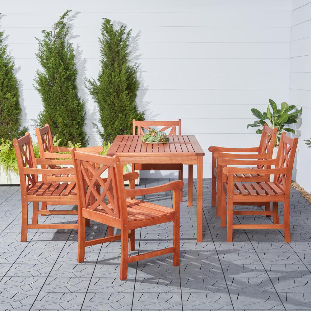 Vifah Wood Outdoor Dining Set 7 Piece V98set13 The Home