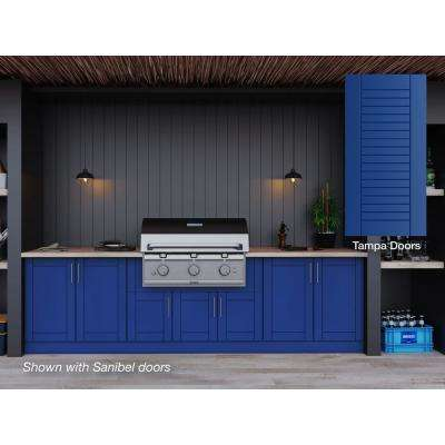 Tampa Reef Blue 17-Piece 121.25 in. x 34.5 in. x 28 in. Outdoor Kitchen Cabinet Set