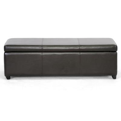 Baxton Traditional Brown Faux Leather Upholstered Storage Ottoman