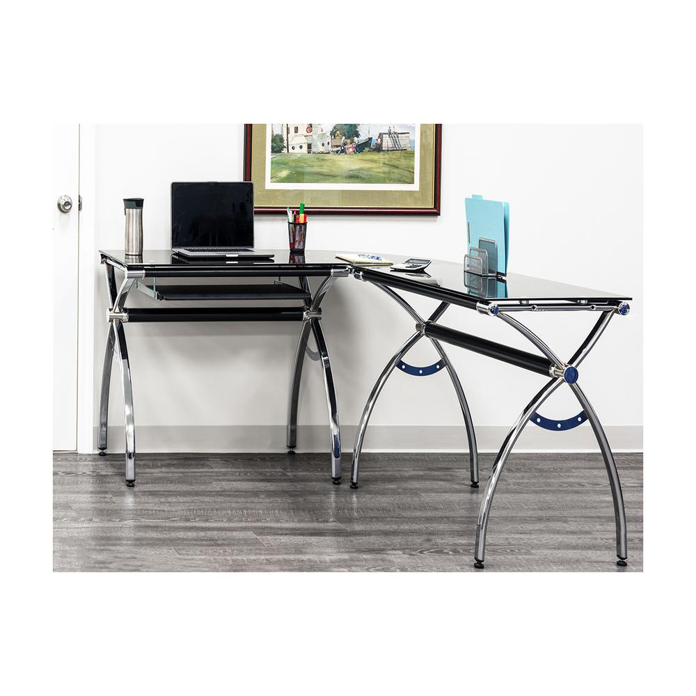 Techni Mobili Black L Shaped Corner Desk With Tempered Glass Top And Pull Out Keyboard