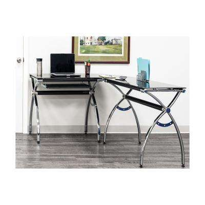 Black L-Shaped Corner Desk with Tempered Glass Top and Pull Out Keyboard Tray