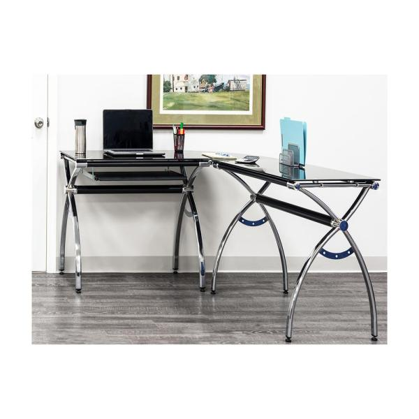 Techni Mobili Black L-Shaped Corner Desk with Tempered Glass Top and Pull Out Keyboard Tray