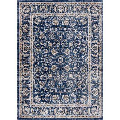 New Age Sonoma Blue 8 ft. x 10 ft. Traditional Vintage Distressed Oriental Area Rug