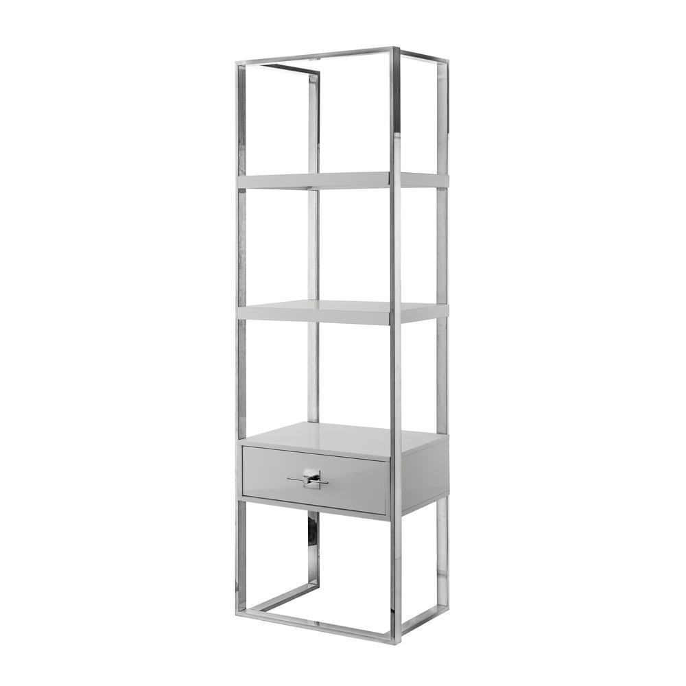 Maui Light Grey/Chrome Bookshelf 1-Drawer 3-Shelves