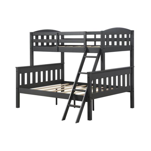 Airlie Twin over Full Wooden Bunk Bed Frame in Slate Gray