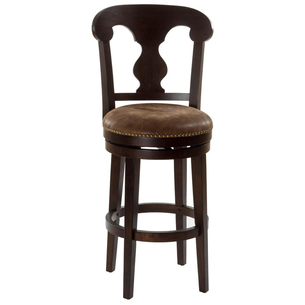 home decorators collection 30 in dark brown cushioned bar stool 5772810830 the home depot. Black Bedroom Furniture Sets. Home Design Ideas