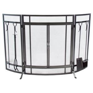 Pleasant Hearth Curved 3-Panel Screen with Tools in Vintage Iron by Pleasant Hearth