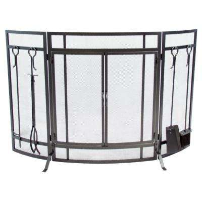 Curved 3-Panel Screen with Tools in Vintage Iron