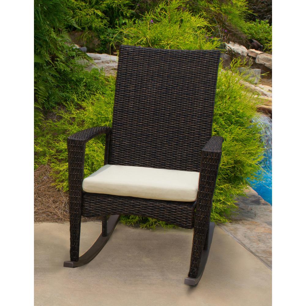 Outdoor Bayview Pecan Wicker Rocking Chair Tan Cushion