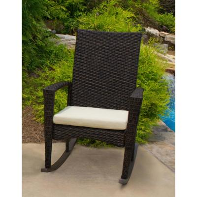 Bayview Pecan Wicker Outdoor Rocking Chair with Tan Cushion