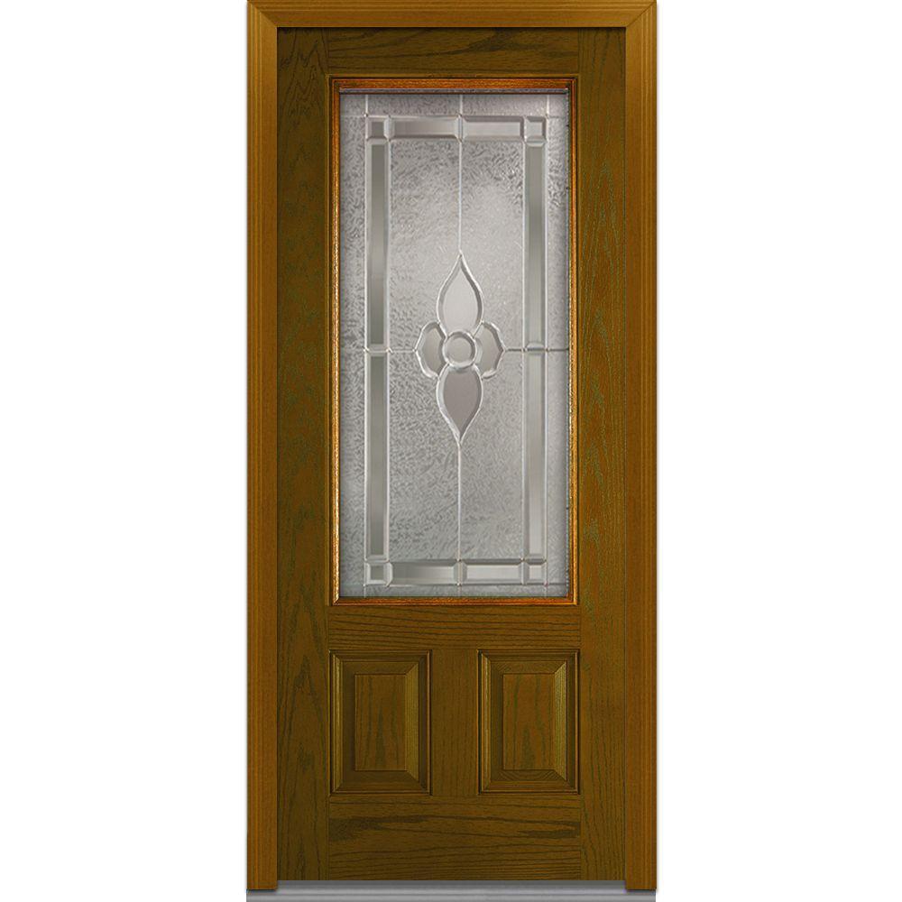 Milliken Millwork 36 in. x 80 in. Master Nouveau Decorative Glass 3/4 Lite 2-Panel Stained Oak Fiberglass Prehung Front Door