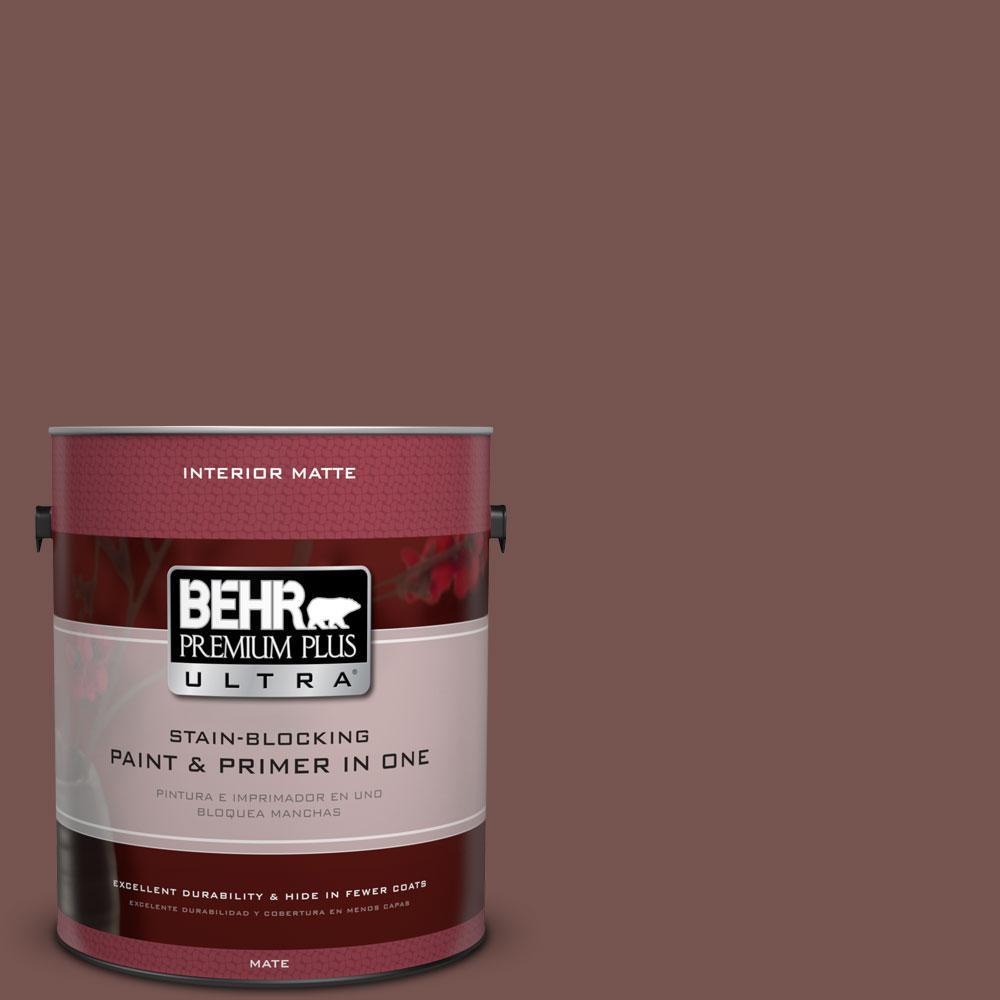 Top BEHR Premium Plus Ultra 1 gal. #PPU2-20 Oxblood Matte Interior  IC72