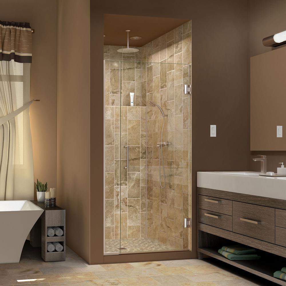 DreamLine Unidoor Plus 36-1/2 in. to 37 in. x 72 in. Semi-Frameless Hinged Shower Door in Brushed Nickel