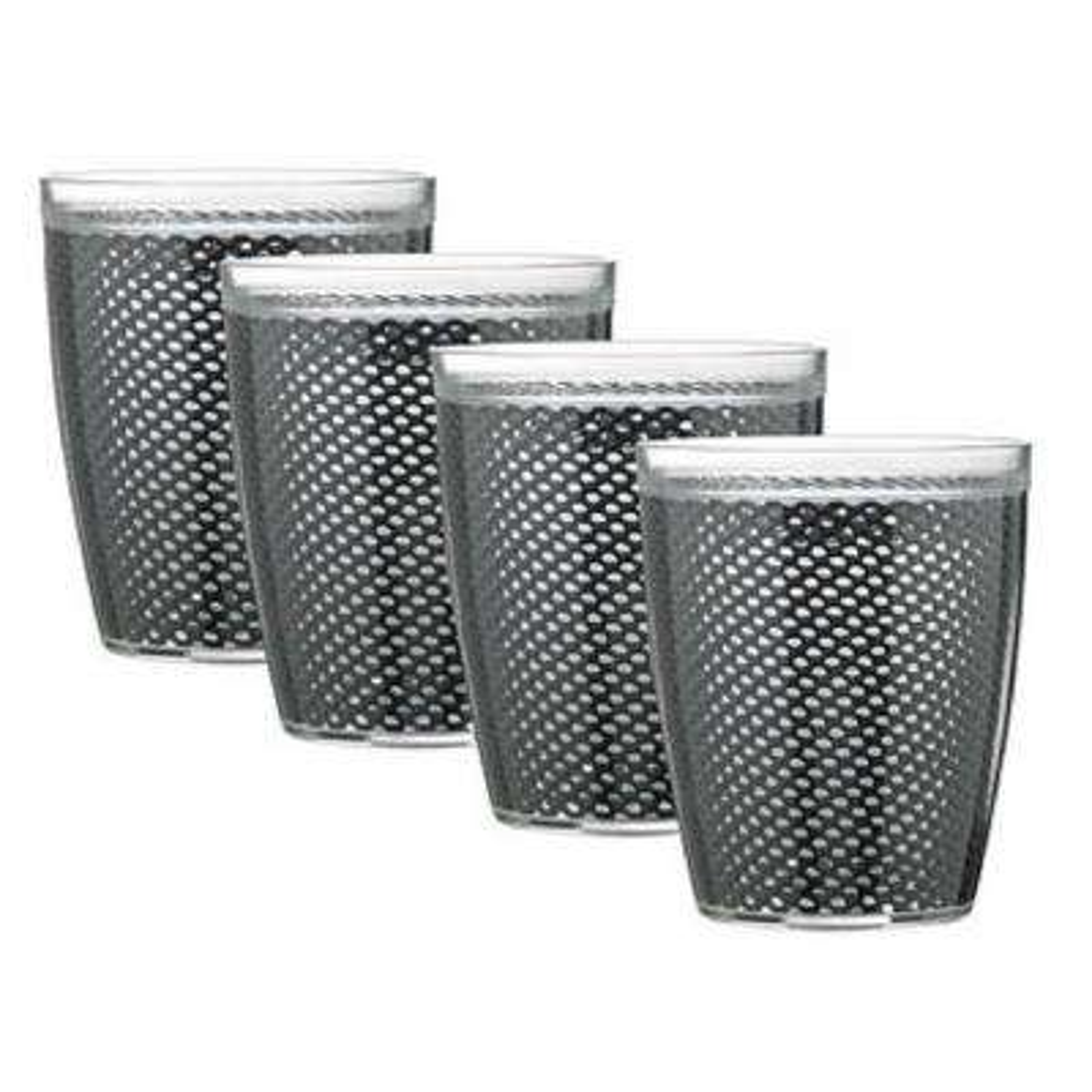 Fishnet 14 oz. Black Insulated Drinkware (Set of 4)