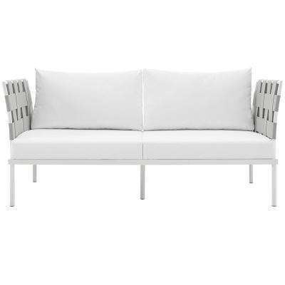 Harmony Aluminum Patio Outdoor Loveseat in White with White Cushions