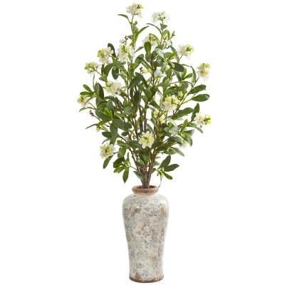 Indoor Peach Blossom Artificial Arrangement in Floral Printed Urn