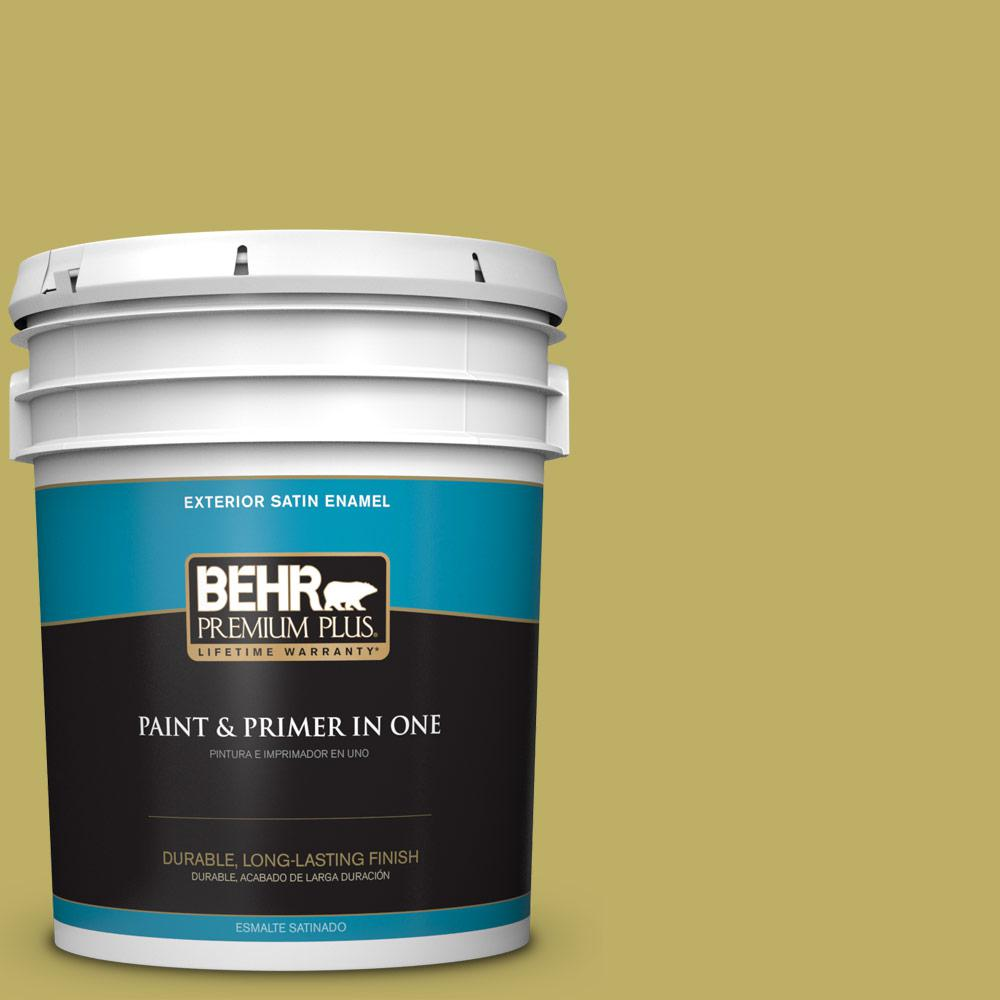 5 gal. #MQ4-42 Pistachio Satin Enamel Exterior Paint and Primer in