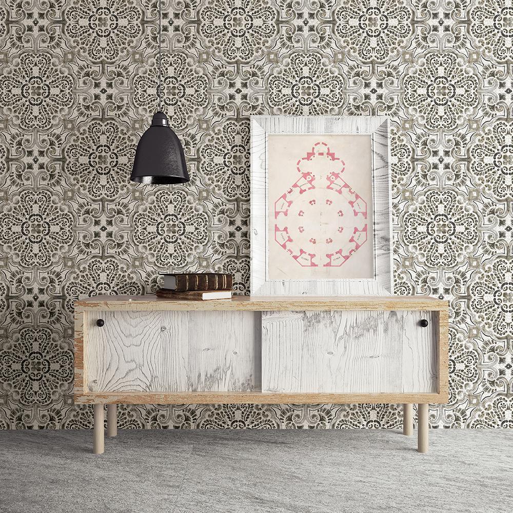 A-Street Florentine Grey Tile Wallpaper by A-Street