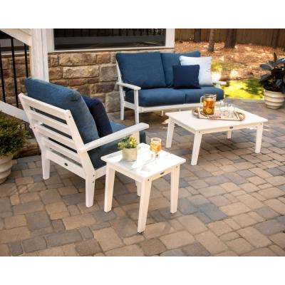 Grant Park White 4-Piece Plastic Patio Deep Seating Set with Sunbrella Rumba Stone Blue Cushions