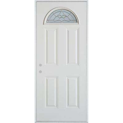 32 in. x 80 in. Traditional Brass Fan Lite 4-Panel Painted White Right-Hand Inswing Steel Prehung Front Door