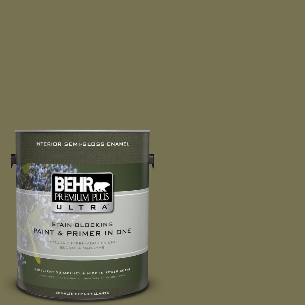 BEHR Premium Plus Ultra 1-gal. #S350-6 Truly Olive Semi-Gloss Enamel Interior Paint