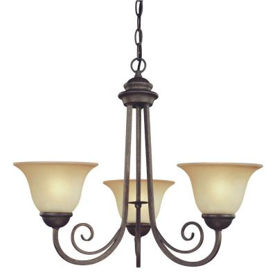 3-Light Ebony Bronze Interior Chandelier with Aged Alabaster Glass