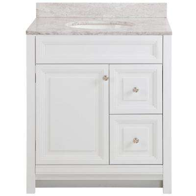 Brinkhill 31 in. W x 22 in. D Bathroom Vanity in White with Stone Effect Vanity Top in Winter Mist with White Sink