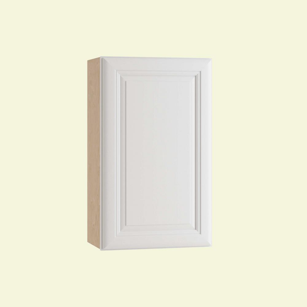 Home Decorators Collection Brookfield Assembled 18x30x12 in. Single Door Hinge Right Wall Kitchen Cabinet in Pacific White