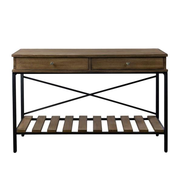 Baxton Studio Newcastle Brown and Antique Bronze Storage Console Table