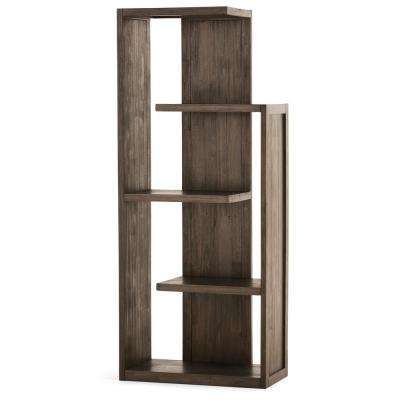 Monroe Solid Acacia Wood 72 in. x 30 in. Rustic Bookcase in Distressed Charcoal Brown