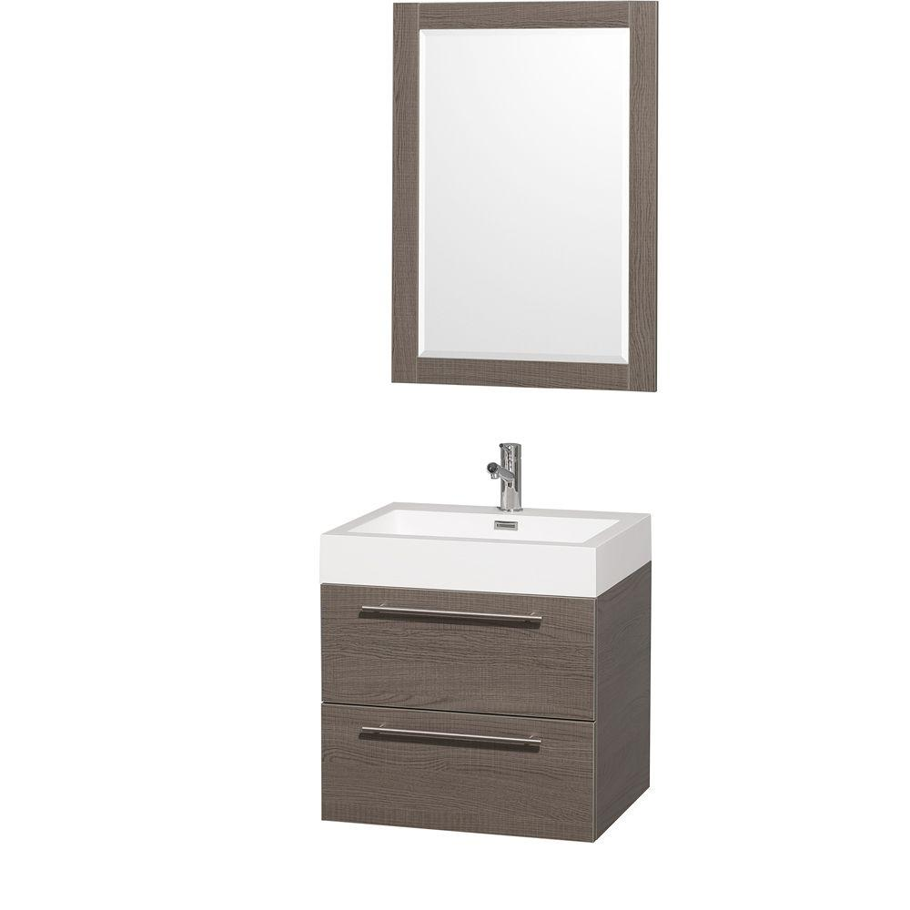 Wyndham Collection Amare In Vanity In Grey Oak With Acrylic - Wall mounted bathroom sinks and vanities