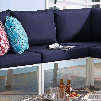 Riverside Aluminum Armless Middle Outdoor Sectional Chair in White with Navy Cushions