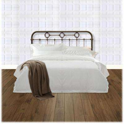 Madera King-Size Metal Headboard Panel with Brass Plated Designs and Castings in Rustic Green