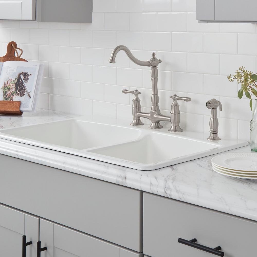 Lyndhurst 2-Handle Bridge Kitchen Faucet with Side Sprayer in Brushed Nickel