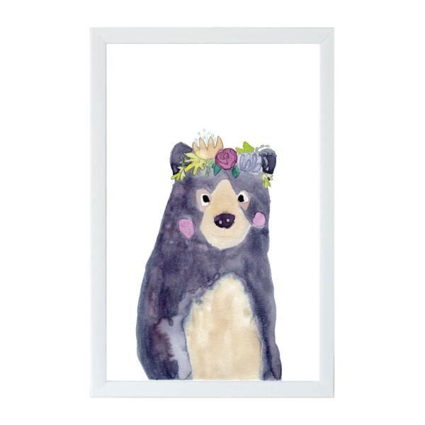 Petal Lane Watercolor Flower Bear White Frame Magnetic Memo Board MB9322