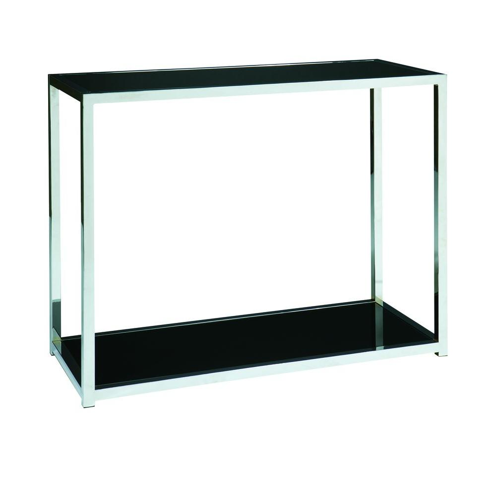 Home Depot Foyer Table : Ave six yield chrome and black console table yld the