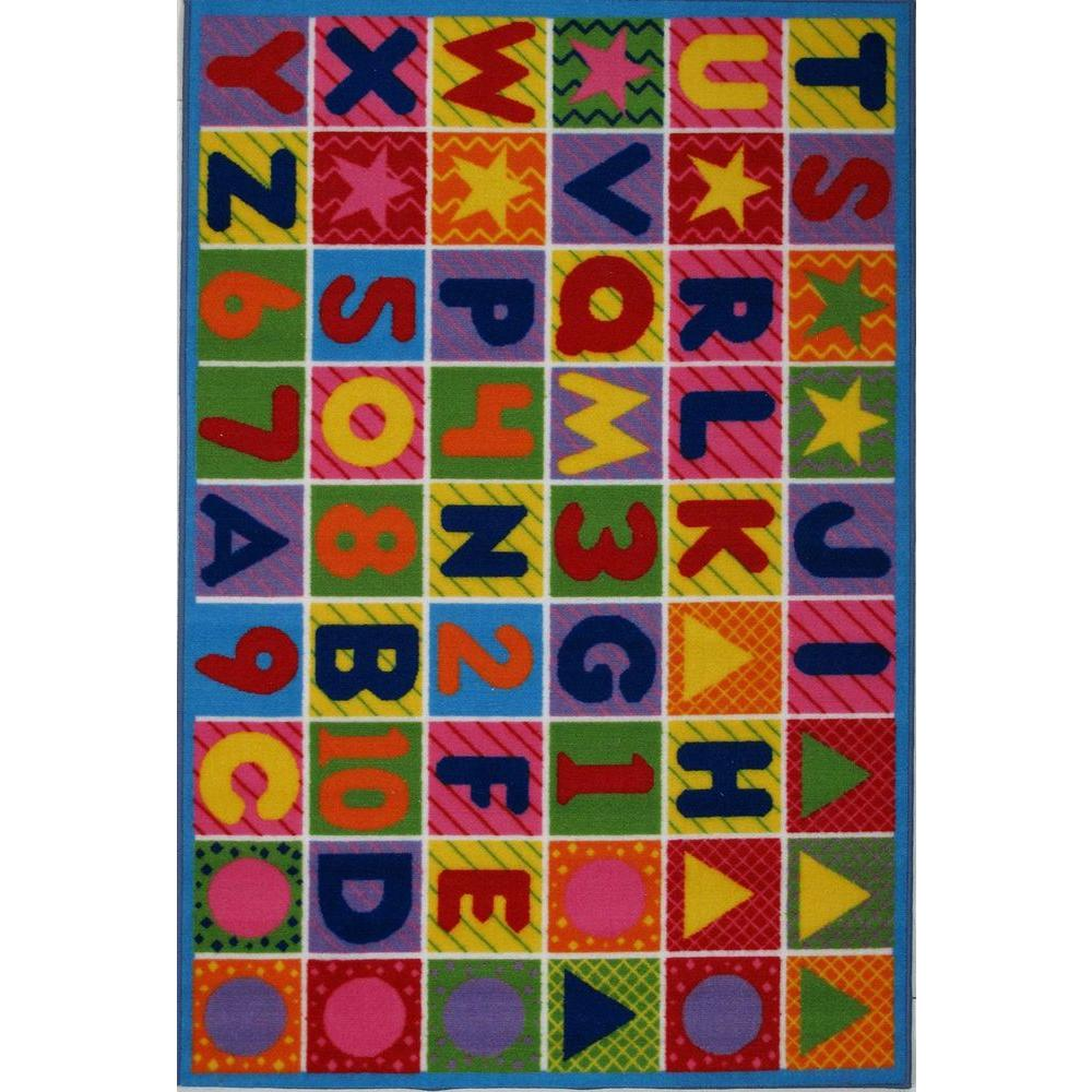 LA Rug Fun Time Numbers and Letters Multi Colored 8 ft. x 11 ft. Area Rug