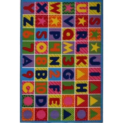 Fun Time Numbers and Letters Multi Colored 5 ft. 3 in. x 7 ft. 6 in. Area Rug