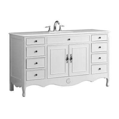 Provence 60 in. W x 21 in. D Single Bath Vanity in Antique White with Marble Vanity Top in White with White Basin