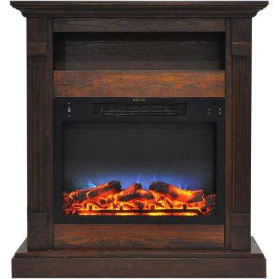 Sienna 34 in. Electric Fireplace with Multi-Color LED Insert and Walnut Mantel
